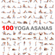 100 yoga poses on white background - Stock Photo