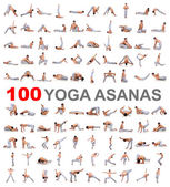 100 yoga-posen auf weißem hintergrund — Stockfoto