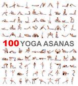 Beyaz zemin üzerinde 100 yoga poses — Stok fotoğraf