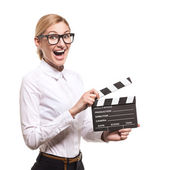 Female holding clapper board in her hands — Stok fotoğraf