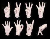 Zestaw z ludzkich rąk, w białe rękawiczki — Zdjęcie stockowe