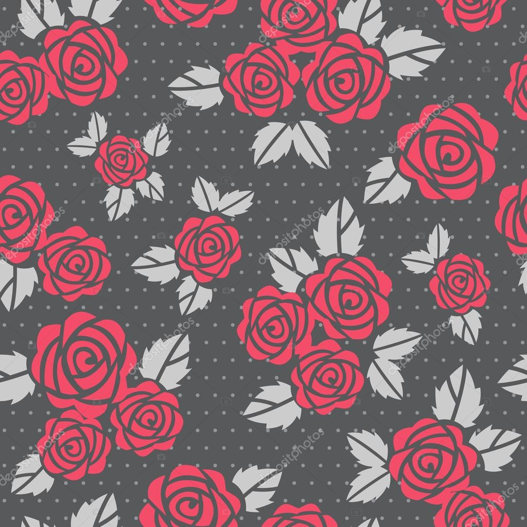 Beautiful seamless vector background with red roses — Stock Photo #12859838