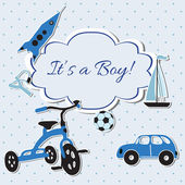Vector kaart met jongen speelgoed — Stockfoto