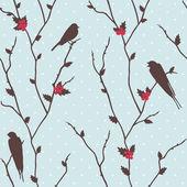 Merry Christmas card with birds — Stock Photo