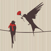 Illustration of birds in love — Foto de Stock
