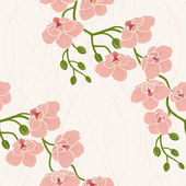 Seamless wallpaper with orchid flowers — Stock Photo