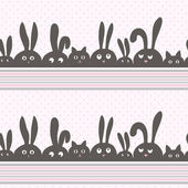 Vector background with rabbits and kittens — Stockfoto