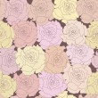 Seamless pattern with beige roses on design background — Stock Photo