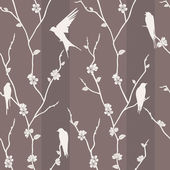 Seamless pattern with bird on sakura branches — Stock Photo