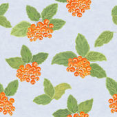Pattern with rowan leaves and rowanberries — Stok Vektör
