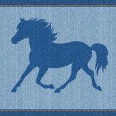 Elegance beautiful blue denim jeans horse. — Stock Vector