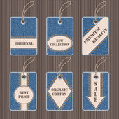 Vector set of jeans tags and labels — ストックベクタ
