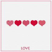 Illustratie met mooie rode harten. — Stockvector