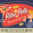 Retro party vector with place for your text - Stok Vektör