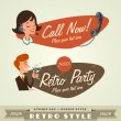 Vintage and retro lables retro party — Stock Vector