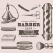 Vintage barber objects - Stock Vector