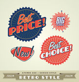 Vintage and retro labels, logo — Stock Vector