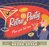 Retro party vector with place for your text — Stock Vector