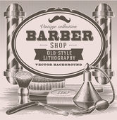 Vintage barber objects — Stock Vector