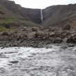 Vídeo Stock: Hengifoss waterfall in Iceland