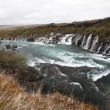Waterfall Hraunfossar in park Husafell in north Iceland — Stock Video #38123285