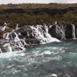 Waterfall Hraunfossar in park Husafell in north Iceland — Stock Video #38123293