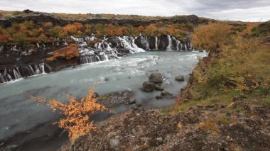 Waterfall Hraunfossar in park Husafell in north Iceland — Stock Video