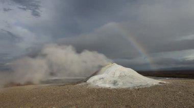 Bahno a parní sopka pole, island — Stock video