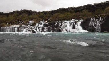 Waterfall Hraunfossar in park Husafell in north Iceland — Video Stock