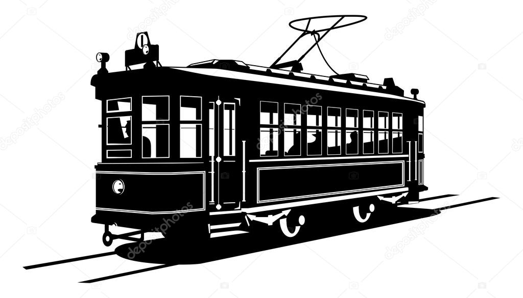 Vector black and white illustration of  tram.  — Stock Vector #12028760