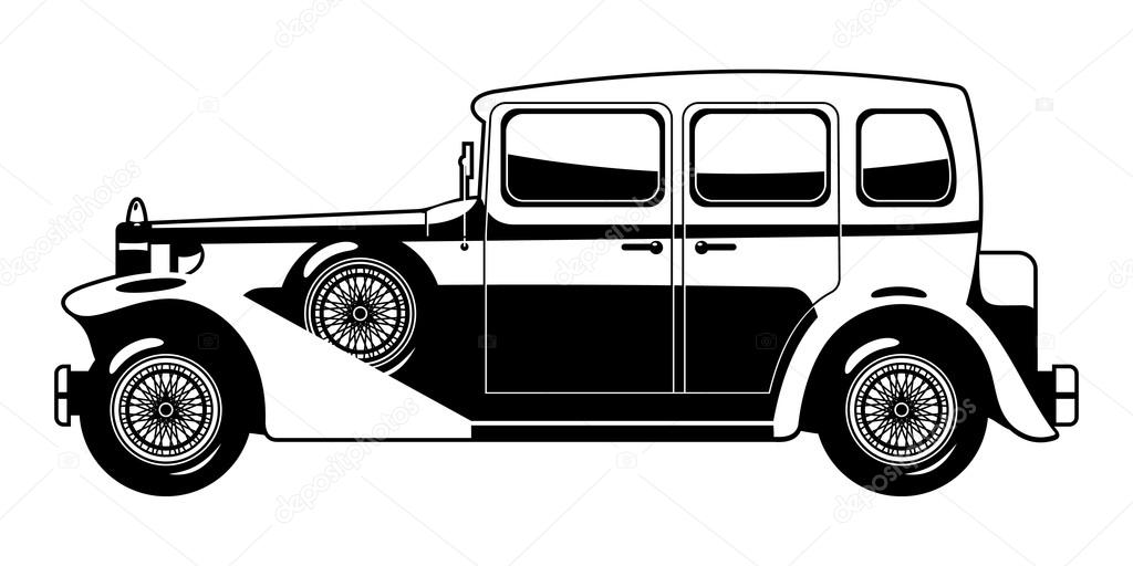 老爷车的黑白插图 — 图库矢量图片#14679047
