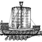 Ancient Egyptian warship. — Stock Vector