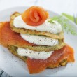 Savoury pancake with salmon and yoghurt — Stock Photo