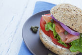 Smoked salmon burger close up — Stock Photo