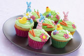Easter cupcakes on plate — Stock Photo