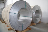 Thick aluminium wire spool — Stock Photo