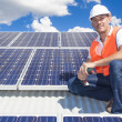 Solar panels with technician — Stock Photo