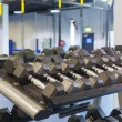 Dumbells in studio — Stock Photo