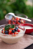 Bircher muesli with fruit salsa — Stock Photo