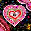 The picture shows a heart painted in different colors - Stock Vector