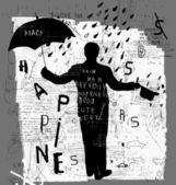 Man in the rain — Stock Vector