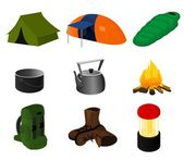 Collection of vector camping icons — Vettoriale Stock