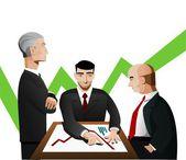 Three businessmen discussing diagram — Stock Vector