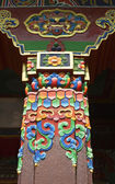 Pillar of Buddhist temple in the Bodhnath Stupa in Kathmandu - Nepal — Stockfoto