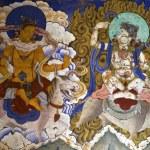 Постер, плакат: Mural in Gangtey Goemba monastery in Central Bhutan