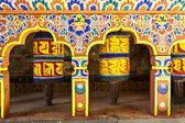 Colorful prayer wheels in Bhutan — Stock Photo
