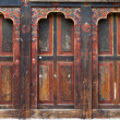 Windows with shutters in Bhutanese style — Stock Photo