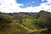 Pisaq, old Inca fortress and terraces in the Sacred Valley next to Cusco, Peru, South America — Stock Photo