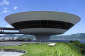 Museum for modern art MAC in Niteroi, Rio de Janeiro in Brazil - South America, designed by Brazilian architect Oscar Niemeyer — Zdjęcie stockowe
