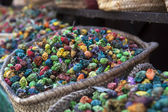 Dried colorful flower potpourri on a market in Marrakesh, Morocco, North Africa — Stock Photo